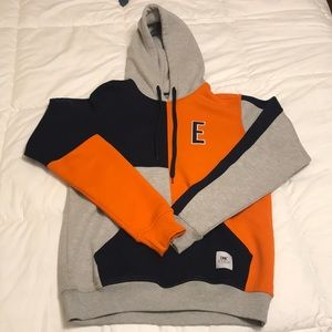 Colorblock ETHIK Orange/Navy/Gray Hoodie Size: L